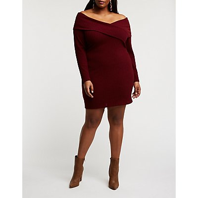 Plus Size Ribbed Off The Shoulder Dress