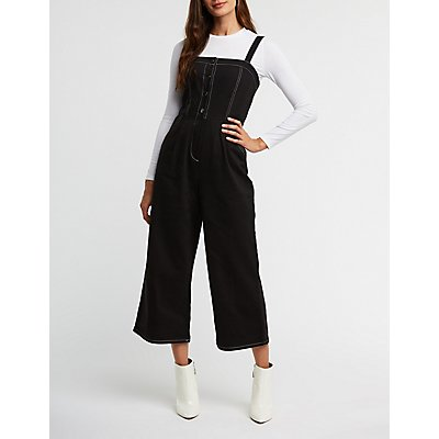 Button Up Wide Leg Jumpsuit