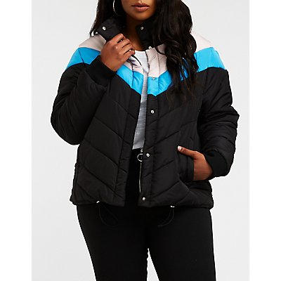 Plus Size Chevron Puffer Jacket