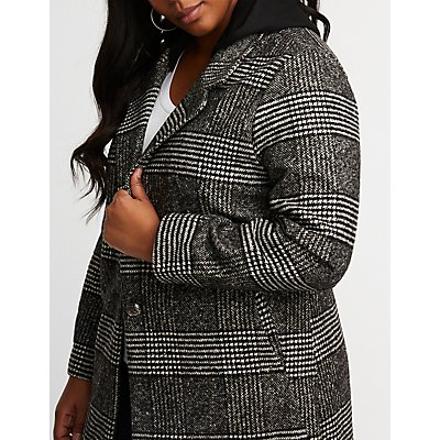 Plus Size Plaid Hooded Blazer