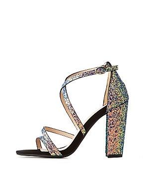 Caged Glitter Block Sandals