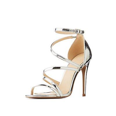 Metallic Strappy Stiletto Sandals