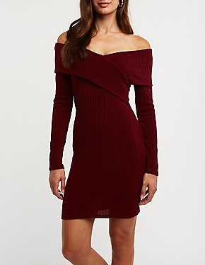 Ribbed Off-The-Shoulder Knit Dress