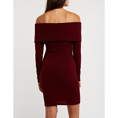 Ribbed Off The Shoulder Dress