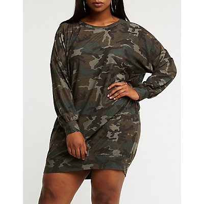 Plus Size Camo Sweater Dress