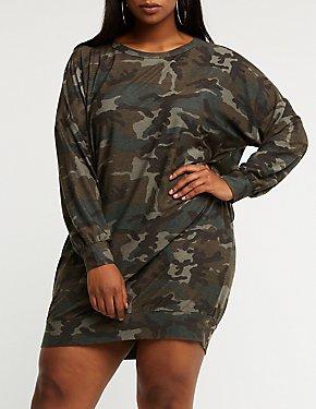 Plus Size Camo Sweater Dress