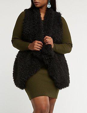 Plus Size Shaggy Faux Fur Vest