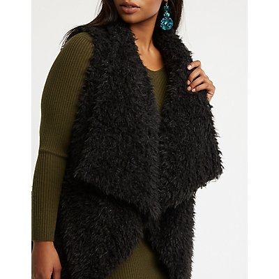 Plus Size Shaggy Faux Fur Vest