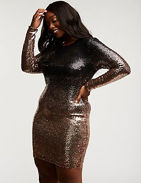 Plus Size Sequin Ombre Bodycon Dress