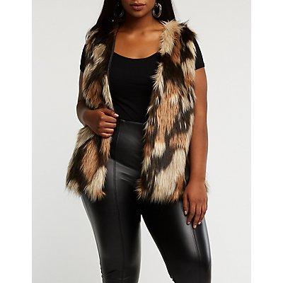Plus Size Striped Faux Fur Vest