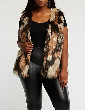Plus Size Striped Faux Fur Vest