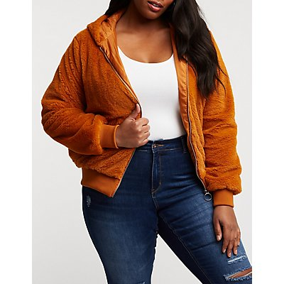 Plus Size Faux Fur Hooded Bomber Jacket