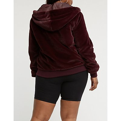Plus Size Faux Fur Hooded Bomber