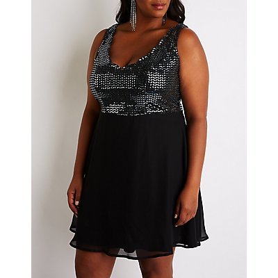 Plus Size Sequin Skater Dress