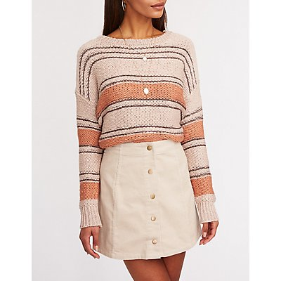 Button Up Corduroy Mini Skirt