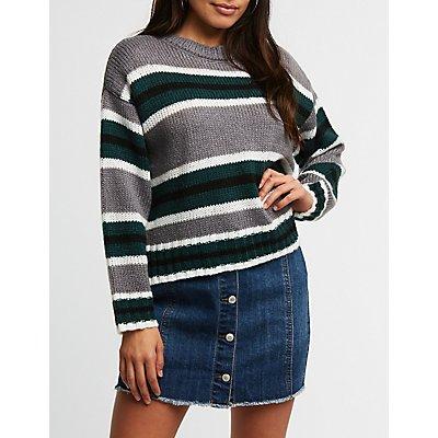 Striped Split Hem Sweater