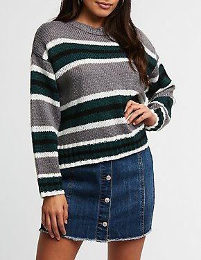 Striped Split Hem Sweater