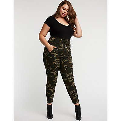 Plus Size Camo Paperbag Skinny Jeans