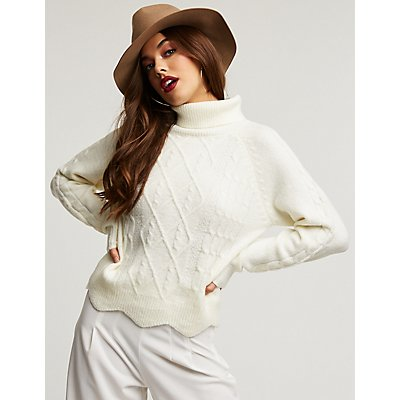 Turtleneck Scallop Trim Sweater