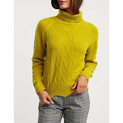 Turtleneck Scallop Trim Sweater