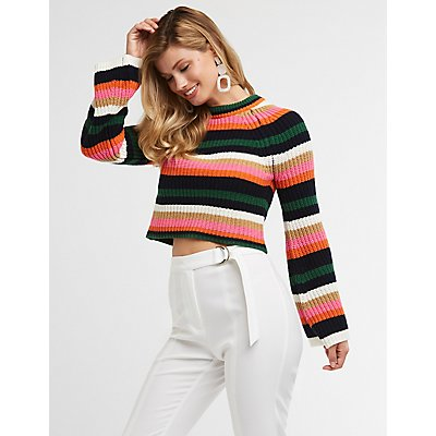 Striped Bell Sleeve Pullover Sweater