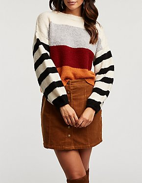 Colorblock Striped Cropped Sweater