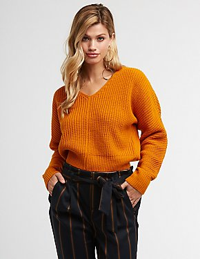 V Neck Cropped Sweater