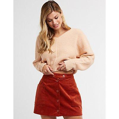 V Neck Cropped Sweater