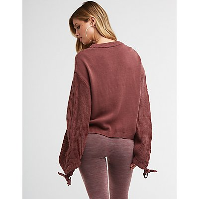 Tie Sleeve Pullover Sweater