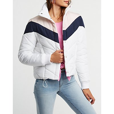 Colorblock Chevron Puffer Jacket