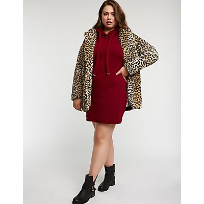 Plus Size Leopard Faux Fur Coat