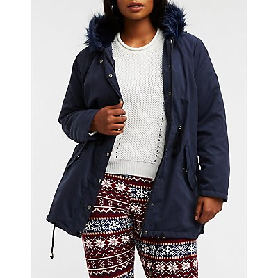Plus Size Faux Fur Trim Anorak Jacket