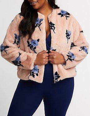 Plus Size Floral Faux Fur Jacket