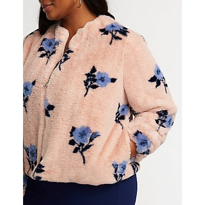 Plus Size Floral Faux Fur Jacket