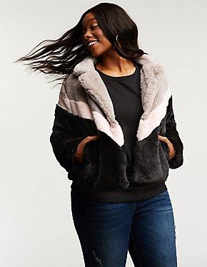 Plus Size Chevron Faux Fur Jacket