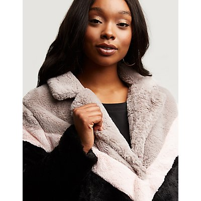 Plus Size Chevron Faux Fur Jacket