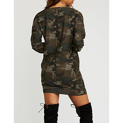 Camo Sweater Dress