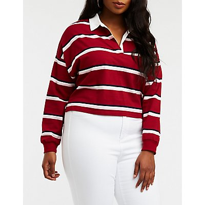 Plus Size Striped Polo