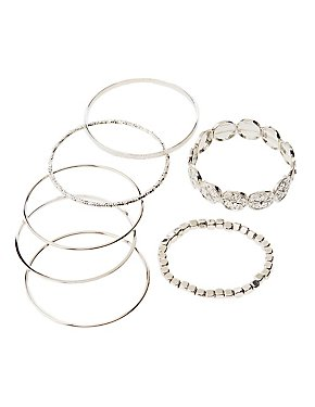 Crystal & Textured Metal Bangles