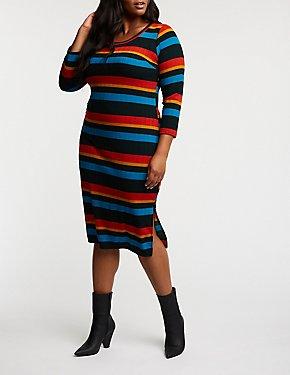 Plus Size Rainbow Striped Bodycon Dress
