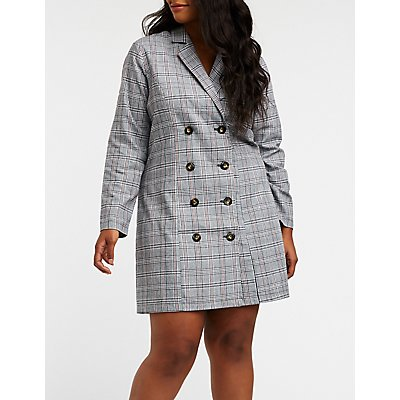 Plus Size Plaid Blazer Dress
