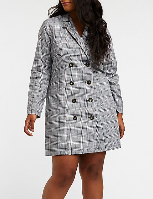 Plus Size Plaid Blazer Dress Charlotte Russe