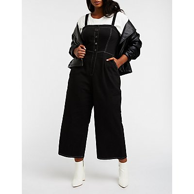 Plus Size Button Up Wide Leg Overalls