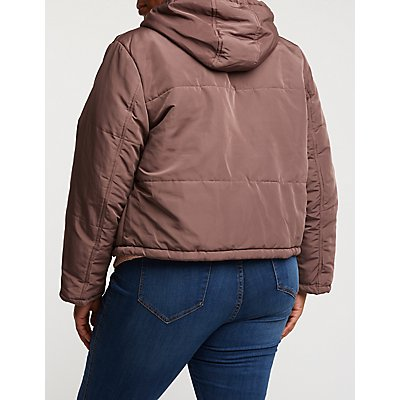 Plus Size Hooded Puffer Jacket