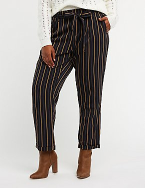 Plus Size Striped Paperbag Trousers
