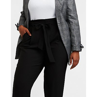Plus Size Tie Front Paperbag Trousers