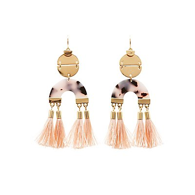 Resin & Tassel Hoop Earrings