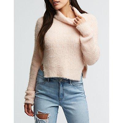 Fuzzy Turtleneck Sweater