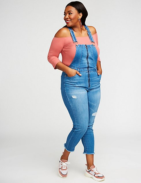 Plus Size Dollhouse Zip Up Overalls Charlotte Russe