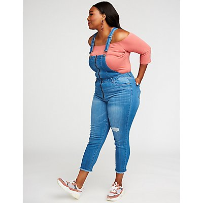 Plus Size Dollhouse Zip-Up Overalls
